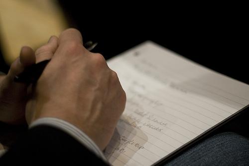Prenez des notes avant votre prise de parole en public